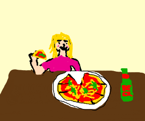 girl in pink eating pizza at a bar