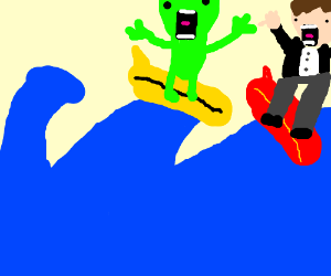 Boy and alien go surfing
