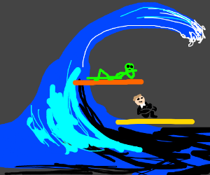 Butler And Alien Surfing Sidewayson Tidal Wave