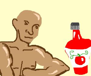 Buff man seducing bottle of ketchup