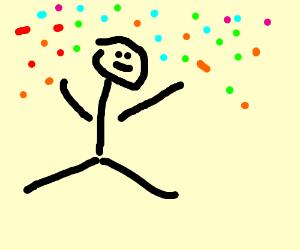 Kid throws confetti in air