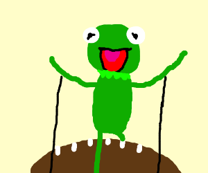 Kermit the Frog riding on a football