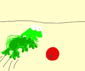 Kermit jumping a ball