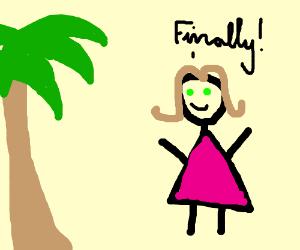 a girl finally found a palm tree