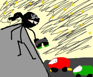 Nazi ninja spy watching people drive.