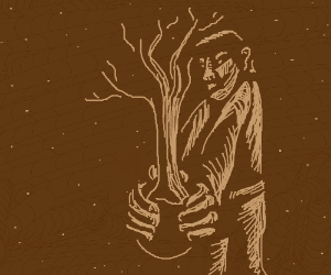 Man holding a tree.