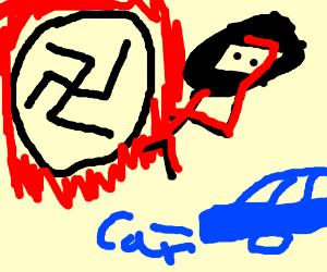 Nazi mutant ninja turntable salutes a blue car