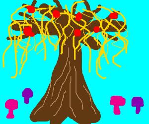 Spaghetti & Meatball Tree with Mushrooms Under