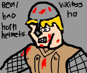 A real Viking helmet has no horns