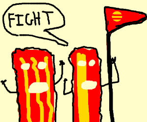 Bacon army go to war with no weapon.