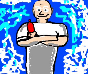 Mr. Clean poses with bottle of ketchup