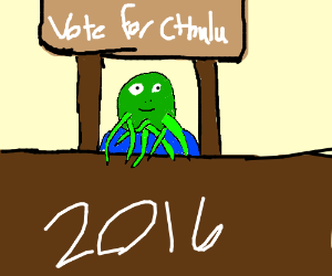 Cthulhu hands you his namecard for 2016 vote