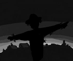 Scarecrow at dusk.