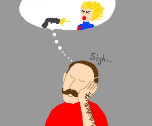 Guy imagines gun shooting woman.