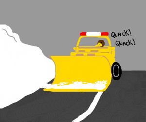 duck driving a snow truck