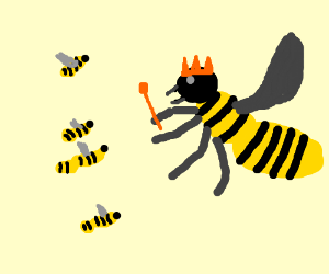 Happy little bumblebees and their queen bee