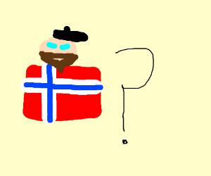 Black hat, brown beard, blue eyes, Norwegian?