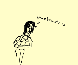 Deep-thinker emo woman understands true beauty