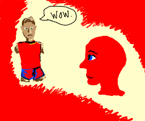 Quadruple amputee guy admires red head in red