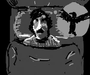 Young Edgar Allen Poe has raven nightmares.