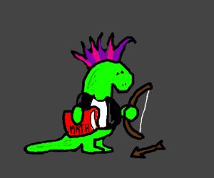 Punk rock lizard archery student.