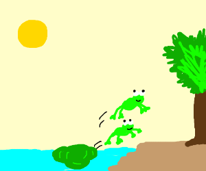 Two frogs jumping out of the water