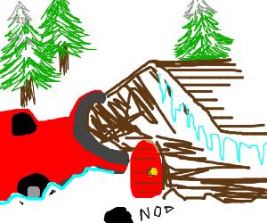Plough truck destroys snow mans home