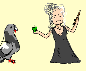 Bellatrix feeds an apple to giant dead pigeon.