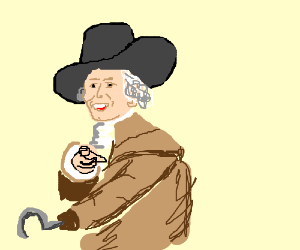 Joeseph Ducreux with a hook hand