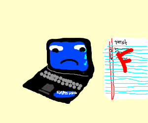 Samsung laptop cried cos it got an F in a test