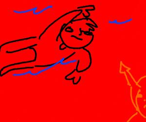 man bravely swims thru hell