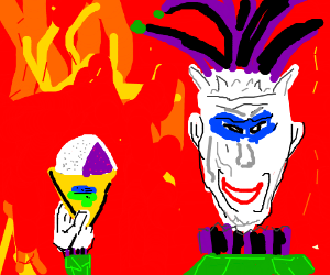 Evil jester with a snow cone