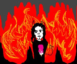 Michael jackson evil clown in hell w/icecream