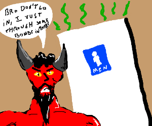 Devil throw bombs in the toilet