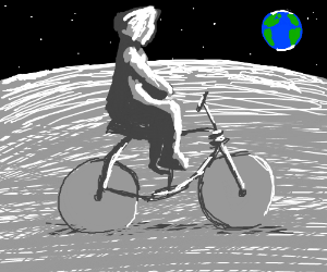 Freddie Mercury on a bicycle on the moon