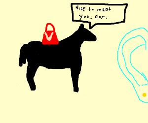 red dapper black horses meet light blue ear.