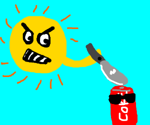 Angry sun attacking a cool, classy coke can