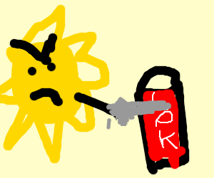 The sun violently stabs a can of Coke