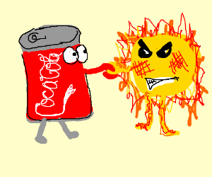 grumpy sun shakes hands with a cola can