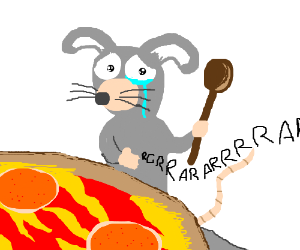 Cute rat can't cut pizza with wooden spoon.