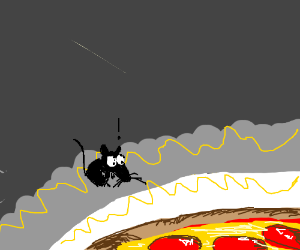 starving mouse finds pizza