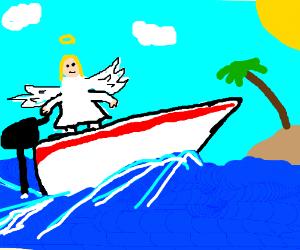 angel in a speed boat