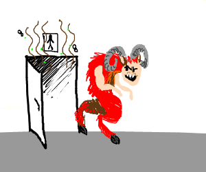 Red Satyr stunk up the men's room