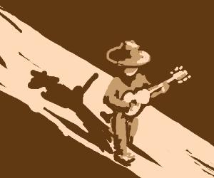 Man Walks Lonely Road, Has Guitar