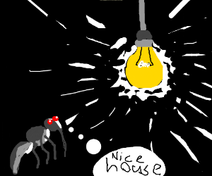 Mosquito considers living in a ligt bulb