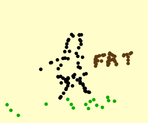 A really fat guy walks across the grass