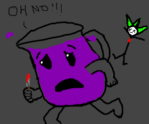 Evil Emperor Zurg... will be Vader by panel 15 - Drawception Purple Kool Aid Man