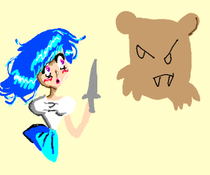Anime Princess fights Giant Bear