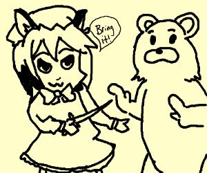 Anime girl fends off Pedobear with a knife.