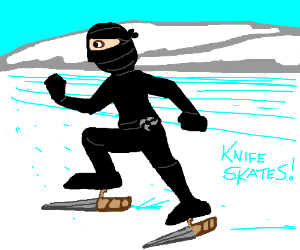 ninja skates faster with knife